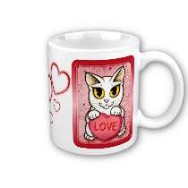 Lil Valentine White Cat Candy Heart Love Art Mug by TigerpixieArt