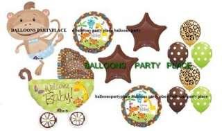 JUNGLE SAFARI MONKEY lime leopard chocolate balloons Baby shower boy