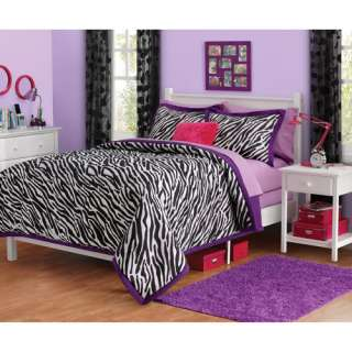 Full/Queen ZEBRA PRINT Jungle Animal Bedding Set COMFORTER +2 SHAMS