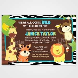 20 Zebra Jungle Safari Friends Baby Shower Invitations