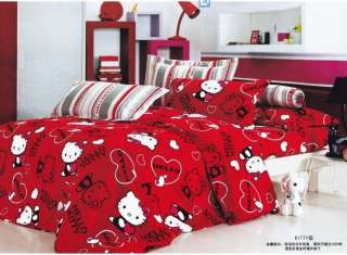 queen size lovely red hello kitty Bed Duvet Quilt Cover set