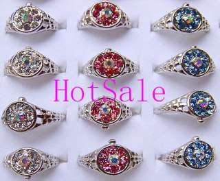 wholesale 20pcs full rhinestone watch shape rings