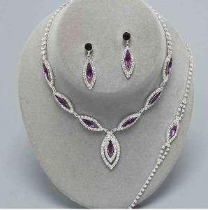 Bridesmaid Emerald Green Crystal Necklace Set Wedding Jewelry