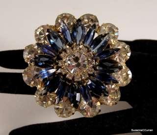 Vintage Crystal & Sapphire Blue Rhinestone Flower Brooch Pin