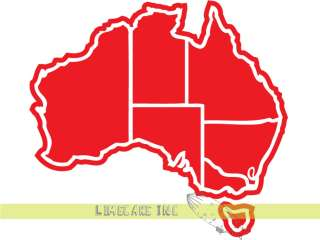 Red Australia Map Vinyl Decal Sticker   For Car or Bus