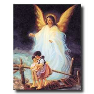 African American Black Guardian Angel Children Bridge