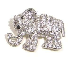 Clear Austrian Rhinestone Elephant Silver Plated Brooch Pin Jewelry