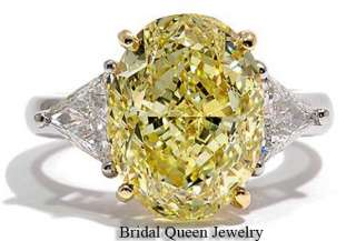 4CT Center Fancy Yellow Oval Cut Style Enagagement Ring18k Diamond