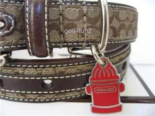 COACH Mini Signature Khaki/Mahogany Dog Collar w/ Fire Hydrant Charm