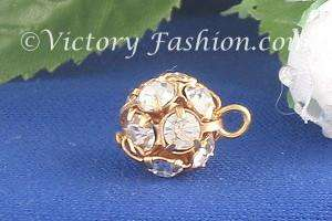 150 10mm Gold tone Crystal Rhinestone Ball Buttons