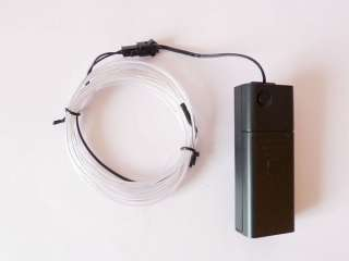 2M Ice White El Wire Glow Neon Light 2AA Battery 6.5ft