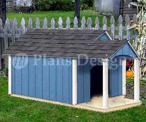 Dog House Plans, Gable Twin Roof Style with Porch, 90305T, Size up to
