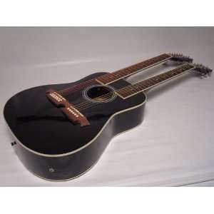 Acoustic Electric Double Neck Guitar, Black, /W Case