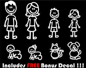 Family Stick Figure Decal Vinyl Car Window Sticker