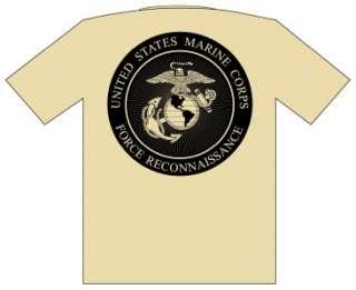 USMC MARINES FORCE RECON T SHIRT M XXXL ** M XXXL ** TAN **FREE
