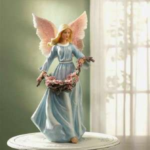 Wing Angelic Angel Rose Basket Statue Figurine Divine Sculpture