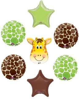 GIRAFFE Jungle ZOO Safari Green Brown Star Baby Shower Party Mylar
