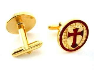 Gold Crusaders Knights Templar Red Cross Cufflinks