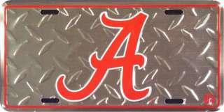 Alabama Crimson Tide Diamond Plate Metal License Tag