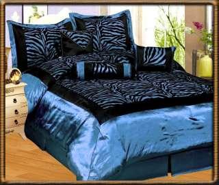 Blue Flocking Zebra Pattern Bedding Comforter Set King Size