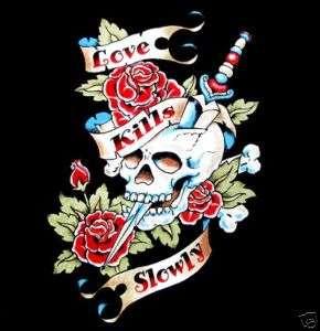LOVE KILLS SLOWLY SKULL KNIFE TATTOO ART T SHIRT WS64