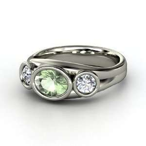 Alexa Oval Ring, Oval Green Amethyst Sterling Silver Ring