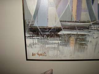 Sailboats 48x60 Oil on Canvas by L/A Lee Reynolds Mint