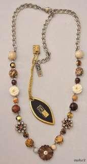New AMARO Crystal Gemstone Brown White Flower Necklace