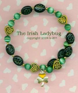 Irish SHAMROCK Celtic Knot Lucky BRACELET   Coil Cats eye