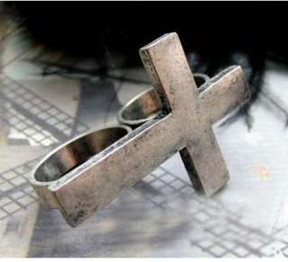 Puck Biker Adjustable Silver Cross Two Finger Double Ring Jewelry H30