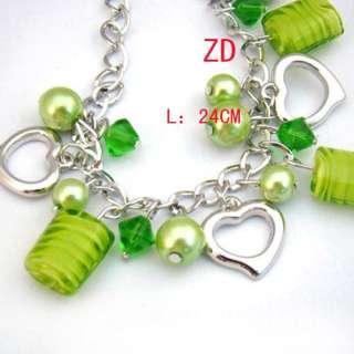 A0212 Charm glass Crystal Pearl bead Heart Bracelet New