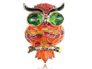Neon Orange Fireopal Hyacinth Crystal Rhinestone Chubby Big Eyed Owl