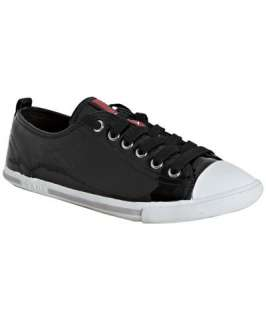 Prada Prada Sport black patent leather cap toe sneakers
