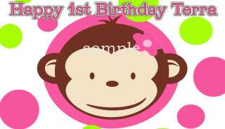 SHEET PINK Mod MONKEY Edible CAKE Image Topper