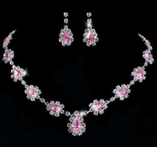 21958 Pink Teardrop Bead Acryl Czech Rhinestone Crystal Necklace