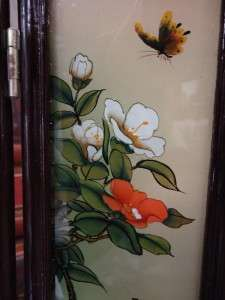 Vintage Chinese Reverse Painted Glass Wall Screen/Panel