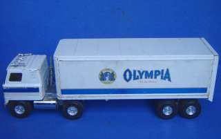 VINTAGE ERTL METAL TIN TOY OLYMPIA BEER SEMI TRUCK+TRAILER CABOVER