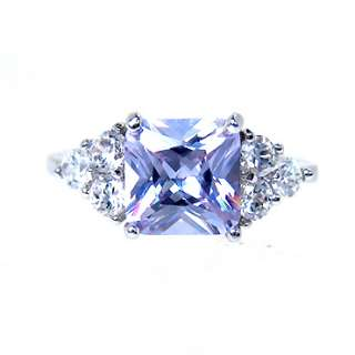 CHRISTMAS GIFT JEWELRY PURPLE TANZANITE SQUARE CUT GP WHITE GOLD RING