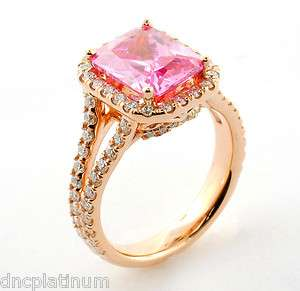 18K Rose Gold Radiant Cut Pink Tourmaline Diamond Ring Size 6 SMT1311