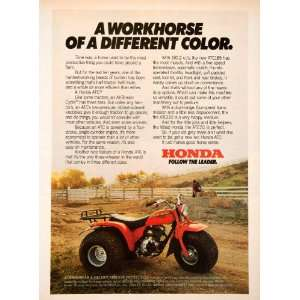1980 Ad Honda Three Wheeler All Terrain Vehicle Helmet Eye
